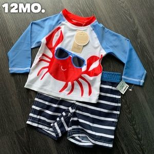 Other - Crab and Stripes 2-Piece Boys Swimsuit